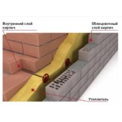Гнутые  гибкие связи для монолитных и кирпичных стен для крепления облицовочного слоя из мелкоштучного материала и утеплителя к монолитному или кирпичному основанию